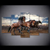 [هد] يطبع حيوان يركض حصان حجر السّامة 5 قطعة صورة صورة زيتيّة جدار [أرت كنفس] [برينت رووم] زخرفة ملصقة نوع خيش [مك-083]