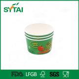 처분할 수 있는 녹색 국물 국수 또는 샐러드 종이컵 또는 사발