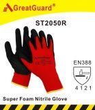 Перчатка нитрила отделки пены Sandy (аттестованный CE)