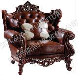 Salón Sofá / Madera Sofá / sofá de estilo europeo / clásico Sofá / Media-sofá de cuero Sq022