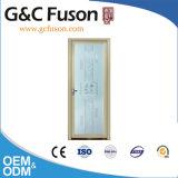 Porte en aluminium de toilette de couleur en bois blanche