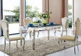 Sala da pranzo moderna Furntiure/Tabella pranzante rettangolo di vetro dell'acciaio inossidabile
