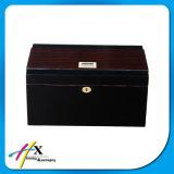2 capas del rectángulo de empaquetado pintado negro puro del cedro español del cigarro de madera de encargo del Humidor