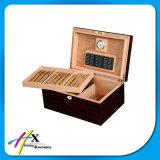 2 Schichten reine schwarze angestrichene kundenspezifische spanische Zeder-hölzerne Luftfeuchtigkeitsregler-Zigarre-verpackenkasten-