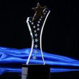 Plaque en cristal en verre chaude de trophée Quliaty élevé avec l'étoile