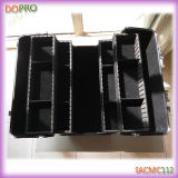 Schwarzes PVC Fall Metal Cosmetic Fall mit Compartments (SACMC112)