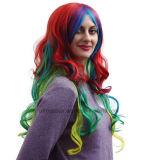 Parrucche ricce lunghe di vendita di pendenza di colore multicolore caldo del Anime