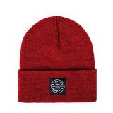 Promocional 4 Stitching Leisure Cuff Knitting Beanie Hat com logotipo tecido