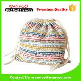 Fördernder Freizeit-voll bunter gedruckter Baumwolldrawstring-Rucksack für Arbeitsweg