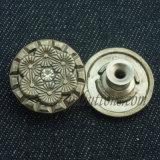 Конструкция способа золота извлекает кнопку джинсыов металла