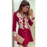 Зима весны женщин одевая конструкции платья красной сексуальной верхней части шнурка самые последние