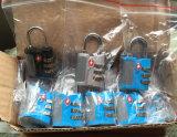 Чемодан пароля Padlock 3 цифровых комбинаций замка таможен Tsa багажа перемещения цвета миниый перестановный (TSA-01)