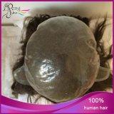 Toupee à la main attaché du Toupee de Vierge des hommes brésiliens bouclés de cheveux humains