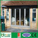 Porta de dobradura de vidro do perfil de alumínio barato para o material de construção