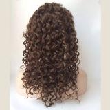 """26 """" lang tiefe Haar-Perücke der Welle Remy Haar-Vorderseite-Spitze-#4"""