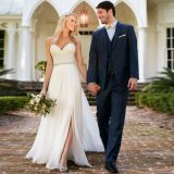 Vestido de casamento Chiffon da praia do laço do querido (SA006)