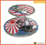 Pièce de monnaie en alliage de zinc argentée en métal des Etats-Unis de la forme 3D de pièce de monnaie ovale de bateau (JINJU16-039)