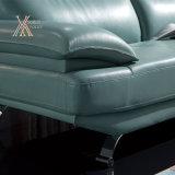 زرقاء جلد ثبت أريكة مع كروم ساق (831)