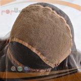 Todo el doble ondulado natural completo atado mano anuda la peluca delantera del cordón