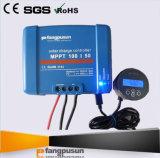 セリウムのRoHS Fangpusunの電池のモニタが付いている青いMPPT100/50太陽電池パネルのパワー系統12V 24Vの評価される電圧50A MPPT太陽料金のコントローラ