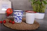 Taza promocional cónica de la taza de té de la taza de la venta del esmalte del borde caliente del balanceo
