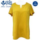 Golden-Yellow à manches courtes à encolure arrière V-Neckline Fashion Ladies Summer Blouse