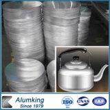 1050 1060 1100 3003 aluminios laminados en caliente/círculo de aluminio para las cocinas