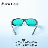 De rode Glazen van de Bescherming van de Ogen van de Laser van de Beschermende brillen van de Veiligheid van de Laser van IRL van de Bril van de Veiligheid van de Laser voor 635nm, de Dioden van 808nm