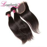Fechamento brasileiro de venda superior 4*4 do cabelo reto do Virgin por atacado de 100%