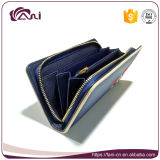 Малый кожаный бумажник для передвижного, длиннего бумажника женщин с вышитым цветком