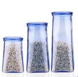 Réservoir de stockage en verre de nourriture de qualité. Bouteille en verre conique