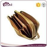 Бумажник портмона самой последней конструкции китайский с вышитой работой, цветом PU Brown бумажника женщин китайского типа