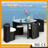 Patio del jardín que cena la silla de la armadura negra de la rota de los muebles y el conjunto redondos del vector