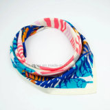 Шарф сатинировки верхнего качества напечатанный квадратный Silk (HWBS090)