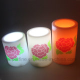 Venda Por Atacado Romântico Peony Flower Impresso Bateria Operada Flameless Wedding Ornamental LED Velas