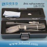 Refractómetro de mano al por mayor del contador de Brix del material plástico 0-32% (LH-T32S)