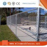 PVC上塗を施してある正方形の金網のチェーン・リンクの塀