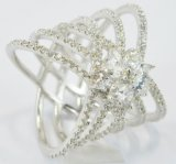 Moda CZ Joyas de acero inoxidable en forma de corazón en forma de anillo