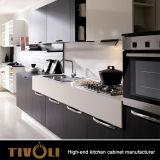 白い光沢のラッカーが付いている基本的な台所単位のためのメラミンキャビネットはTivo-0071hをカスタム設計する