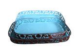 フルーツを保持する型の長方形の青い鋼鉄金属板の皿