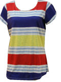 조방사 털실 염료 줄무늬 숙녀 t-셔츠