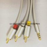штепсельная вилка Stereo 3.5mm к кабелю штепсельной вилки 3RCA, AV кабеля