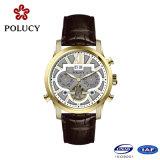 Relógio de esqueleto do ouro de Rosa da alta qualidade do OEM automático