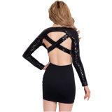 Schwarzes Backless Kleid der Sequins-Hülsen-eleganten Frauen