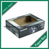 Caixa de embalagem ondulada do bloco liso com o indicador desobstruído do PVC