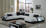 Grande sofà di cuoio d'angolo con l'indicatore luminoso del LED per il sofà sezionale del salone, sofà moderno
