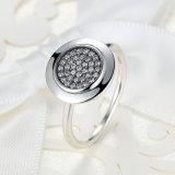 Runder KubikZirconia pflastern Einstellungs-Silber überzogenen Korb-Ring