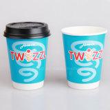 12ozふたが付いている二重壁の熱いコーヒー紙コップ