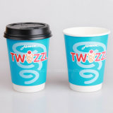taza de papel del café caliente doble de la pared 12oz con la tapa