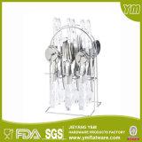 24 Stück-hängendes Tischbesteck-Plastikset mit Standplatz, Plastikgriff-hängendes Tischbesteck-Set mit Standplatz